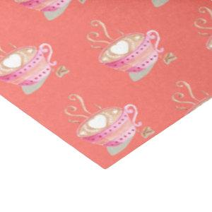 Coffee cup pattern living coral tissue paper