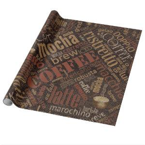 Coffee on Burlap Word Cloud Brown ID283 Wrapping Paper