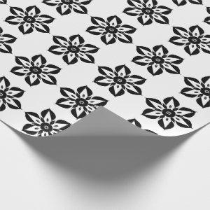 Color it! Black flower wrapping paper