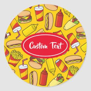 Colored Fast Food Icons Pattern Classic Round Sticker