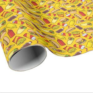 Colored Fast Food Icons Pattern Wrapping Paper