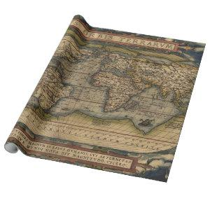Colorful Antique Vintage World Map Ortelius Wrapping Paper