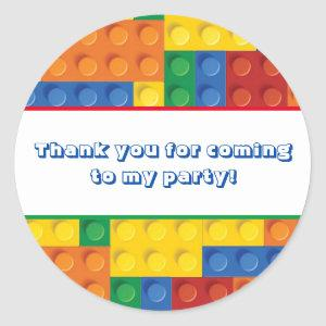 Colorful Bricks Building Blocks Birthday Favor Classic Round Sticker