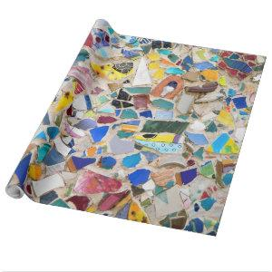 Colorful broken pottery wall picture very unusual wrapping paper
