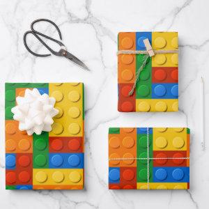 Colorful Building Blocks Birthday Wrapping Paper Sheets