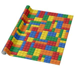 Colorful Building Bricks Blocks | Custom Wrapping Paper