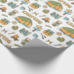 Colorful Camping Gear Pattern Wrapping Paper