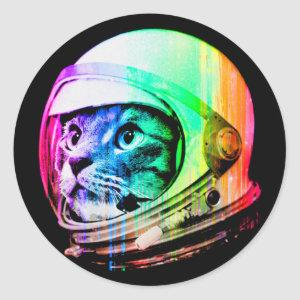 colorful cats - Cat astronaut - space cat Classic Round Sticker