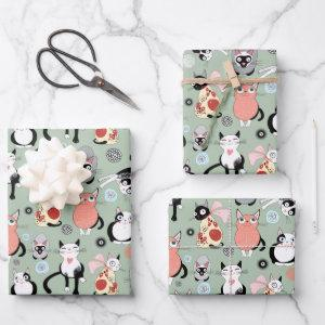 Colorful Cats Wrapping Paper Sheets