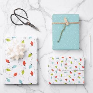 Colorful Christmas lights holiday Wrapping Paper Sheets