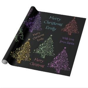 Colorful Christmas Tree Pattern with Name Wrapping Paper