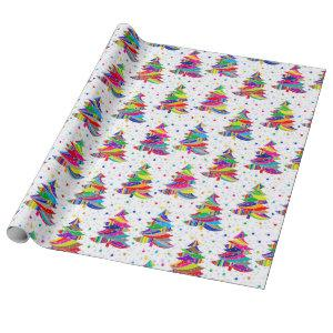 Colorful Christmas Trees Snowflakes Wrapping Paper