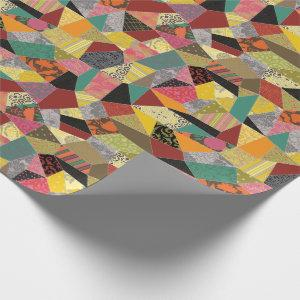 Colorful Crazy Quilt Patchwork Pattern Wrapping Paper