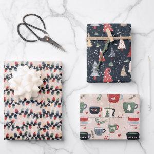 colorful cute christmas trio pack set gift  sheets