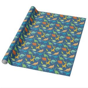 Colorful Dinosaurs Pattern Wrapping Paper