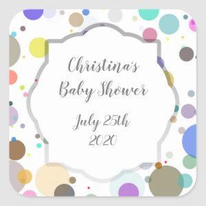 Colorful Dots Favor Tag, Gender Reveal Baby Shower Square Sticker