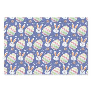 Colorful Easter Eggs and Bunny Rabbit Pattern Blue Wrapping Paper Sheets