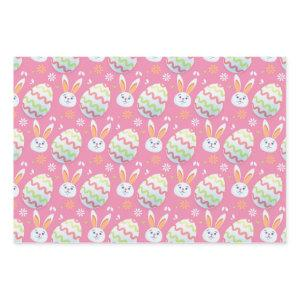 Colorful Easter Eggs and Bunny Rabbit Pattern Pink Wrapping Paper Sheets