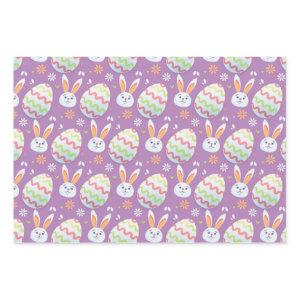 Colorful Easter Eggs and Bunny Rabbit Pattern Wrapping Paper Sheets