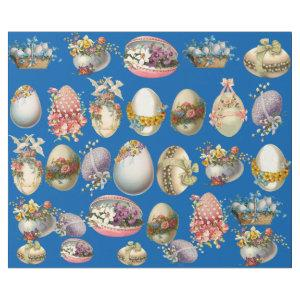 COLORFUL EASTER EGGS, FLOWERS ,WHITE DOVES IN BLUE WRAPPING PAPER