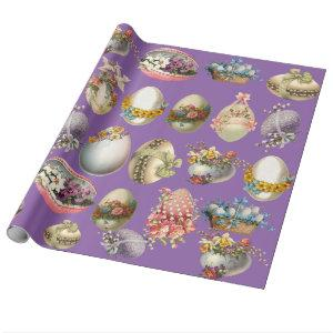 COLORFUL EASTER EGGS,FLOWERS,WHITE DOVES IN PURPLE WRAPPING PAPER