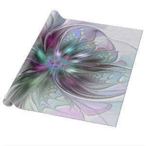 Colorful Fantasy Abstract Modern Fractal Flower Wrapping Paper