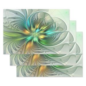 Colorful Fantasy Modern Abstract Flower Fractal Wrapping Paper Sheets