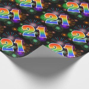 "Colorful Fireworks + Rainbow Pattern ""21"" Event # Wrapping Paper"