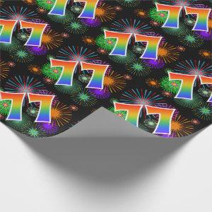 """Colorful Fireworks + Rainbow Pattern """"77"""" Event # Wrapping Paper"""