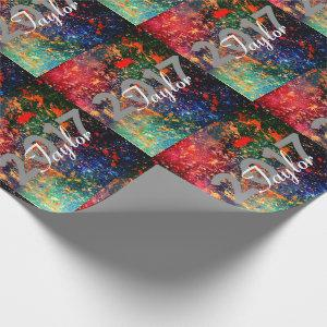 Colorful Graduation | Rainbow Splatter Psychedelic Wrapping Paper