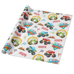 Colorful Little Boy Monster Trucks Pattern Wrapping Paper
