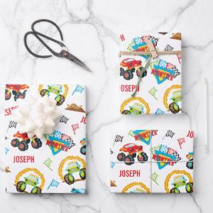 Colorful Little Boy Monster Trucks Pattern Wrapping Paper Sheets