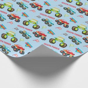 Colorful Little Boy Monster Trucks with First Name Wrapping Paper