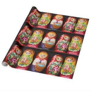 Colorful Matryoshka Dolls Wrapping Paper