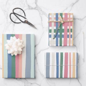 Colorful Modern Stripes Grid Pink Blue Wrapping Paper Sheets