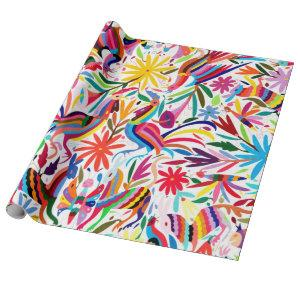 Colorful Otomi Print, Floral/Animal Pattern Wrapping Paper
