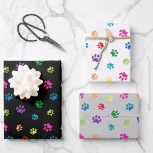 Colorful Paw Prints Pattern on Black White Grey Wrapping Paper Sheets