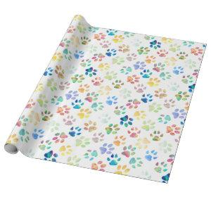 colorful pet paw prints pattern wrapping paper