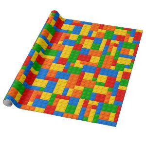 Colorful plastic building bricks construction toy wrapping paper