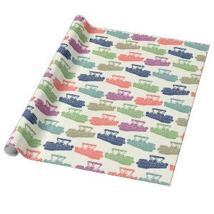 Colorful Pontoon Boats Patterned Boating Gift Wrapping Paper
