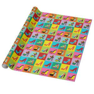 Colorful pop art feminine shoes wrapping paper
