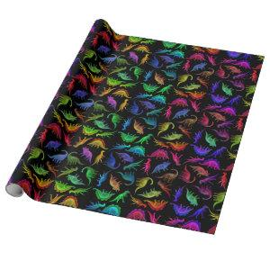 Colorful Prehistoric Dinosaurs Wrapping Paper