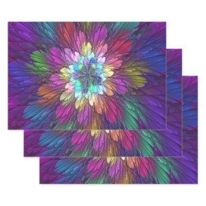 Colorful Psychedelic Flower Abstract Fractal Art Wrapping Paper Sheets
