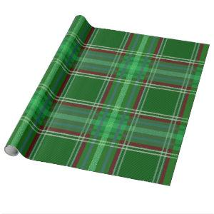 Colorful Retro Christmas Holiday Tartan Plaid Wrapping Paper