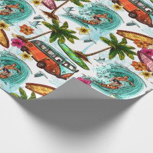 Colorful retro surf themed pattern wrapping paper