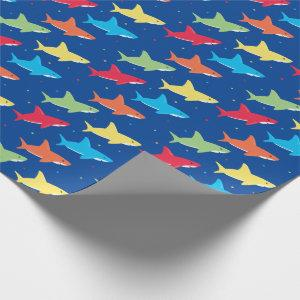 Colorful Shark Pattern Cartoon Characters on Blue Wrapping Paper
