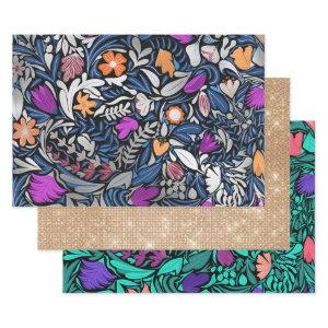 Colorful Silver Floral Leaf Illustration Pattern Wrapping Paper Sheets