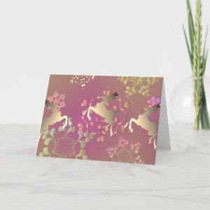 Colorful Snowflakes and Reindeer Card