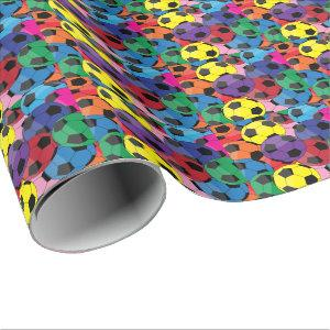 Colorful Soccer Ball Collage Wrapping Paper