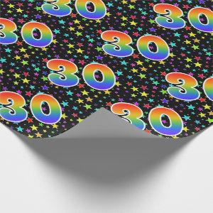 """Colorful Stars + Rainbow Pattern """"30"""" Event # Wrapping Paper"""